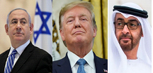 Netanyahu (left), Trump (center) & bin Zayed (right)